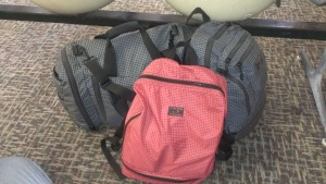 The Aeronaut (left), Synapse 25 (right), and Red Packing Cube which also doubles as a backpack (middle)